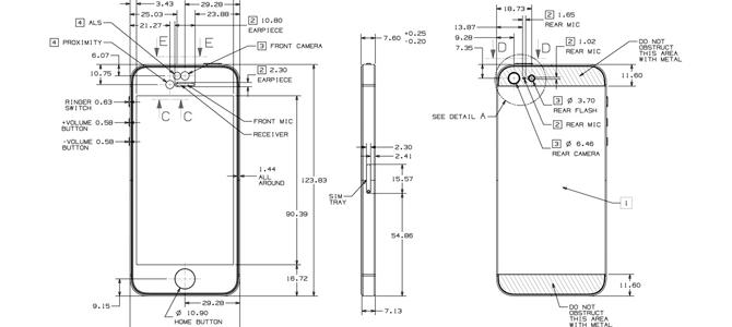 desenho revela as dimens u00d5es de supostos iphone 5s e iphone