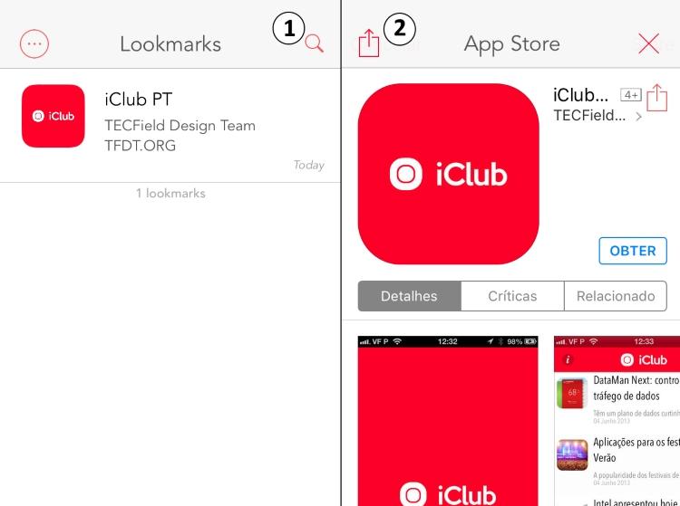 Lookmark com exemplo App iClub