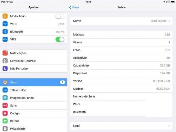Aqui é possível ver o espaço disponível neste iPad